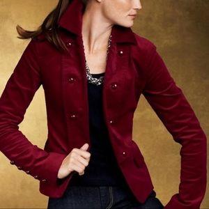 Talbots Deep Red Velvet Blazer Jacket 8 Petite